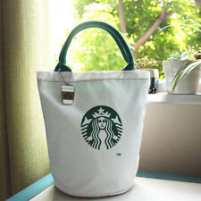 NEW hot Starbucks Canvas Tote Bag White Black Lunch Bag Reusable Washable