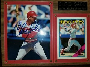 CHRIS SABO 1988 N. L. ROOKIE OF THE YEAR AUTOGRAPH PLAQUE