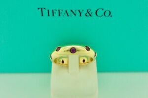 Authentic Vintage Tiffany & Co. Etoile Ruby 18k Yellow Gold Band Ring US5