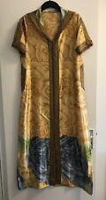 BNWOT StunningLadies Mustard/Blue/Green Satin Short Sleeve Moroccan Jalaba Dress