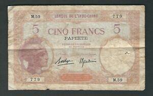 Tahiti - Papeete - Five (5) Francs 1929