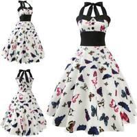 Evening women Retro Dresses Sleeveless Summer Swing vintage Party halter Dress