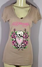 "Ed Hardy Women's T-shirt,""Skull, Heart,Roses"" beig, Size  XS 100% Cotton v neck"