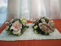Vintage  Capodimonte Italy Porcelain Multi Roses Candle Holder Pink