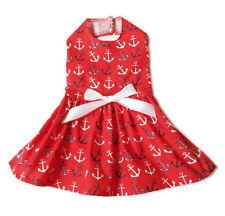 Patriotic Red Sailor Tiny Dog Dress Little Dog Clothes Small Dog Apparel Sz XXS