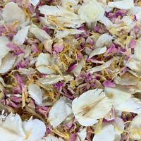 Biodegradable Wedding CONFETTI IVORY FLUTTERFALL Dried Pink Rose Petals + Yellow