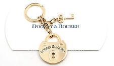 NEW Dooney & Bourke Pad Lock and Key Gold Tone Key Ring Fob NWT
