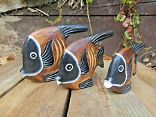 More details for fair trade hand carved made wooden tropical angel fish set of 3 statue ornaments