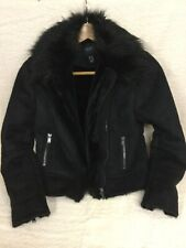 New Look Petite Black Suede Biker Jacket With Faux Fur Collar Size Uk10 Pre
