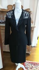 THIERRY MUGLER GORGEOUS VINTAGE SKIRT SUIT IN BLACK WITH MACRAME TOP, NWOT
