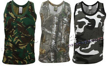 MENS CAMOU JUNGLE PRINT COMBAT MILITARY GYM MUSCLE TANK TOP T- SHIRT VEST S-5XL
