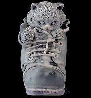 "Cat in Boot Shoe Marble Statue Kitten Stone Figurine Russian Art Sculpture 4"""