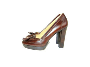 Michael Kors Pumps Brown Platform Tassel Heel Womens Size 7.5