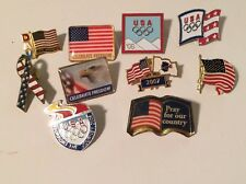 Lot Of 10 American Flag Hat Pins Pinbacks Olympics
