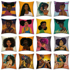 African Black Beauty Fashion Girl Printing Decor Throw Pillow Case Cushion Cover