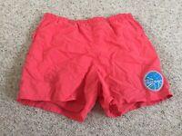 Vintage 80s Reebok Beach Volleyball Swim Shorts Baggies Lined Medium Peach Patch