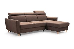 Modern Ecksofa GUSTAW Braun Verstellbare Kopfstützen Couch Schlaffunktion Ecke