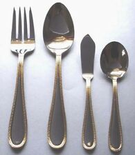 Wedgwood Vera Wang VERA LACE Gold 4 Piece Hostess Set Stainless Flatware NEW