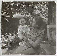 Snapshot Famille Bébé France Photo Plaque de verre Stereo Vintage LD8