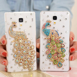 NEW Bling Diamonds Glitter Peacock Soft back clear Phone Covers Cases For Moto 1