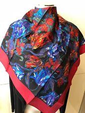 Liberty Of London Reds & Blues Floral Scarf 86cmx86cm Silk Twill Handroll Edges