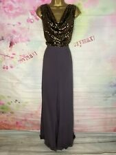 ROCKY REVIVAL FULL LENGTH BLACK/GOLD SEQUINED JUMPSUIT MAXI DRESS SIZE 22