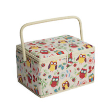 Hobby Gift Mrl/29 Owl Print on Natural Large Sewing Box/organiser 23x31x20cm