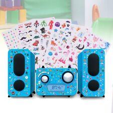 Chaîne hi-fi stéréo design lecteur CD radio haut-parleurs bleu autocollants son