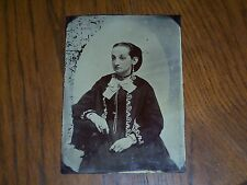 Half plate tintype of a very pretty young lady nice image rare picture Look