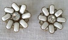 Vintage Gold Tone Leru Rhinestones & Mother of Pearl Flower Clip On Earrings