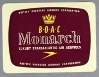 BOAC MONARCH ORIGINAL VINTAGE AIRLINE LUGGAGE LABEL BAGGAGE B.O.A.C. FIRST CLASS