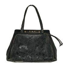 Valentino Black Demetra Lambskin Leather Lace Braided Handle Handbag Purse Tote