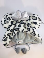 Disney Girls Winter Hat Minnie Mouse Ears Snow Leopard Faux Fur Satin Bow