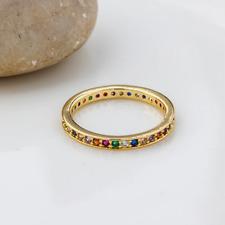 Chapado en Oro Anillo De La Eternidad apilador de arco iris - 3 Tamaños-Nuevo en Caja De Regalo