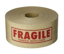 "Kraft Water Activated Gummed Fragile Tape 2.75"" x 450' - 1 Roll"