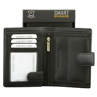 ✅ Mens RFID Wallet Contactless Card Protection Black Genuine Leather SMART ✅
