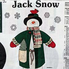 Vintage Jack Snow Snowman Doll Cut and Sew Fabric Panel Cranston