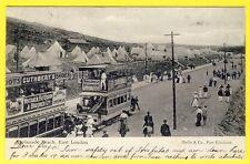 cpa RARE SOUTH AFRICA EAST LONDON Esplanade Beach Animé TROLLEY CARS Camp Tentes