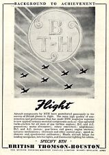 British Thomson-Housten Rugby  AIRCRAFT COMPONENTS Historische Reklame von 1949