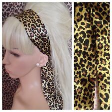 ANIMAL LEOPARD PRINT SATIN HAIR SCARF HEAD BAND SELF TIE BOW 50s GLAMOUR VINTAGE