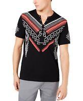 INC Mens T-Shirt Black Size 3XL Grommet Split Neck Graphic Front Tee $29 #063