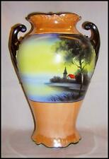 Noritake Vase 2 Scroll Handles Red Roof Cottage Steeple Classic Shape Tan Luster