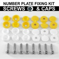 NUMBER PLATE CAR FIXING FITTING X 20 KIT SCREWS & CAP HINGE WHITE YELLOW CAPS