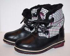 AthletechThermolite Tamika Black White Purple Check Faux Fur Women's Boots 7M