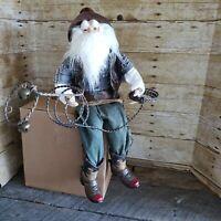 Vintage 80s 90s Cowboy Roper Santa Claus Figure Large 20 inch Rodeo Shelf Sitter