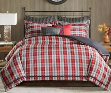 RED PLAID 4pc King COMFORTER SET : LODGE CABIN RED BLACK WOVEN JACQUARD BEDDING