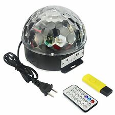 MP3 LED RGB Crystal Magic Ball 6 color Rotating Strobe Disco Stage Ball Light