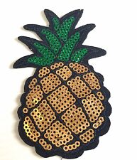 Sequin pineapple iron on patch tropical fruit ananas vitamin iron-on patches