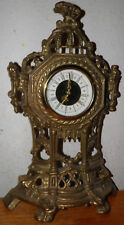 "Vintage Mantle Clock Cast Brass 9 X 14.5"" Mechanical Wind-up Shelf WORKS GREAT"