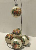 Vintage Santa Claus Glass Ball Christmas Ornaments USA Santa Workshop Lot of 6